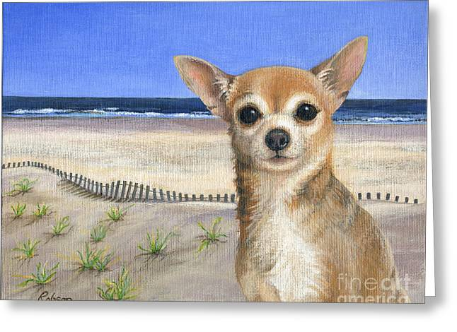 Chihuahua At Sea Isle City New Jersey Greeting Card by Peggy Dreher