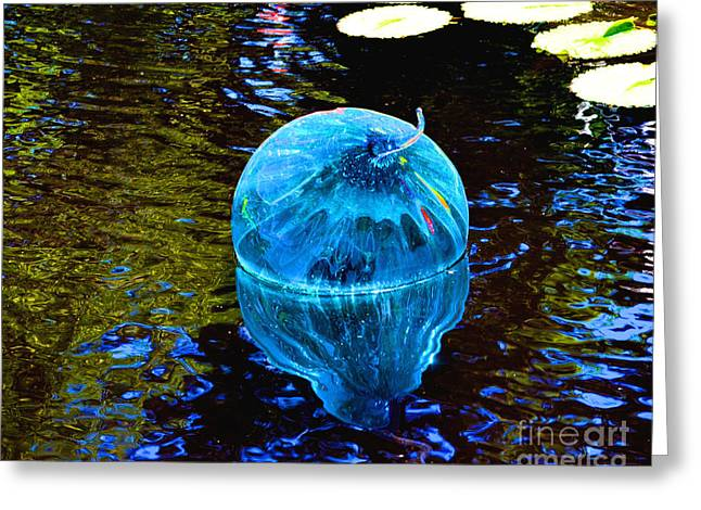 Artsy Blue Glass Float Greeting Card by Luther Fine Art