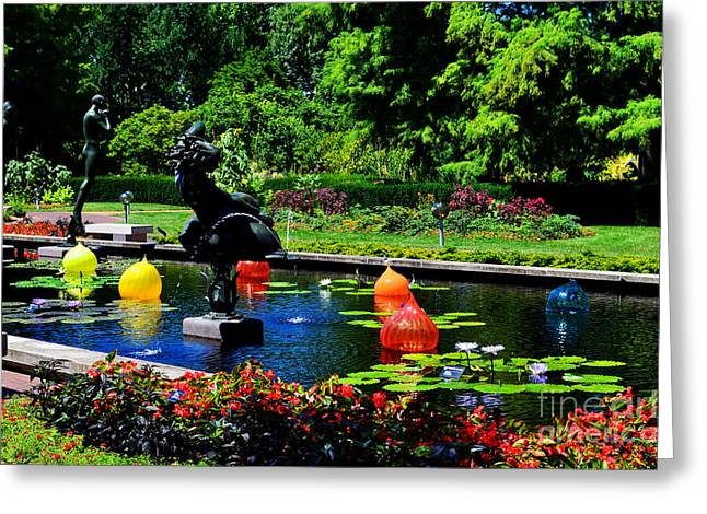 Chihuly Glass Balls In Missouri Botanical Garden Greeting Card