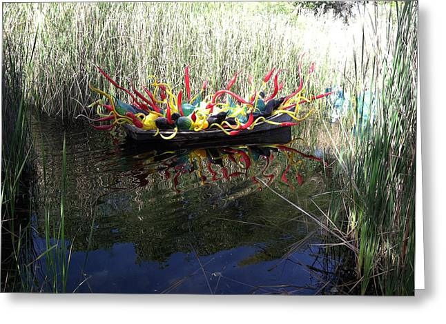 Chihuly Glass In Boat Greeting Card by Jack Edson Adams
