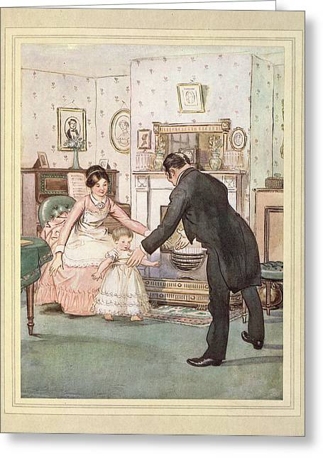 Child And Butler Greeting Card by British Library