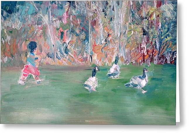 Child And Geese Greeting Card by Fabrizio Cassetta