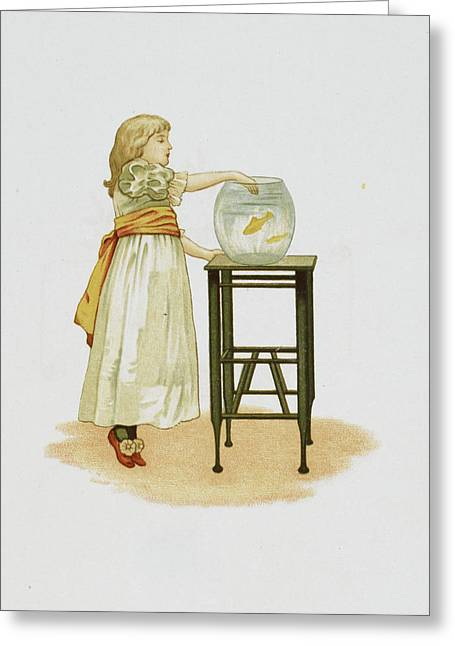 Child And Goldfish Bowl Greeting Card by British Library