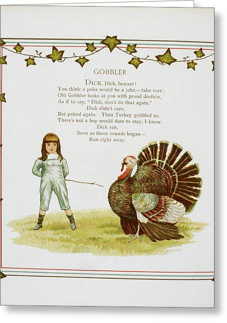 Child And Turkey Greeting Card