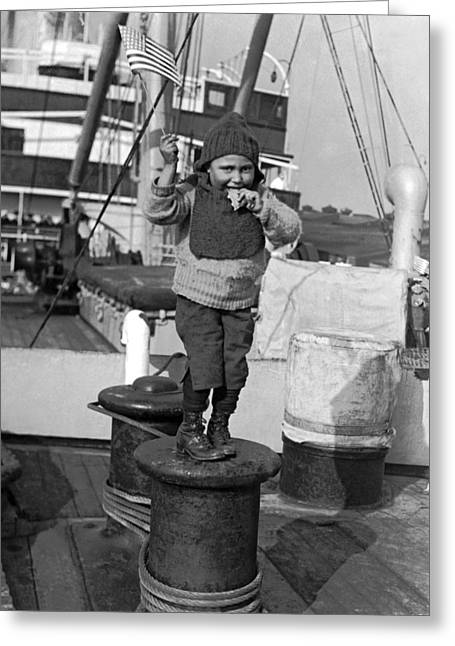 Child Arriving At Ellis Island Greeting Card by Underwood Archives