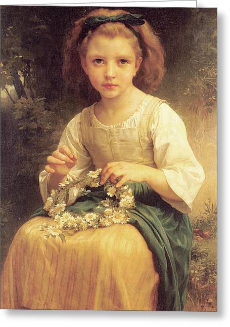 Child Braiding A Crown Greeting Card by William Bouguereau