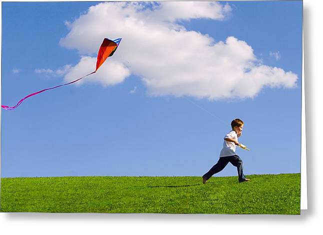 Child Flying A Kite Greeting Card by Don Hammond