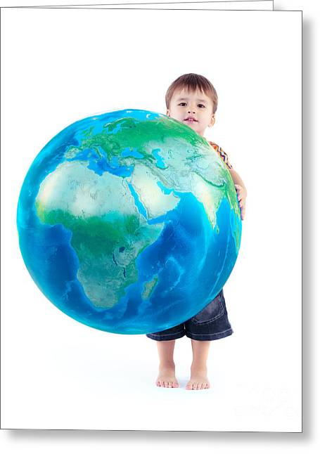 Child Holding World Globe In Hands Greeting Card
