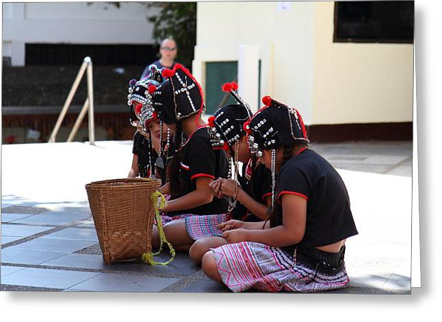 Child Performers - Wat Phrathat Doi Suthep - Chiang Mai Thailand - 01134 Greeting Card