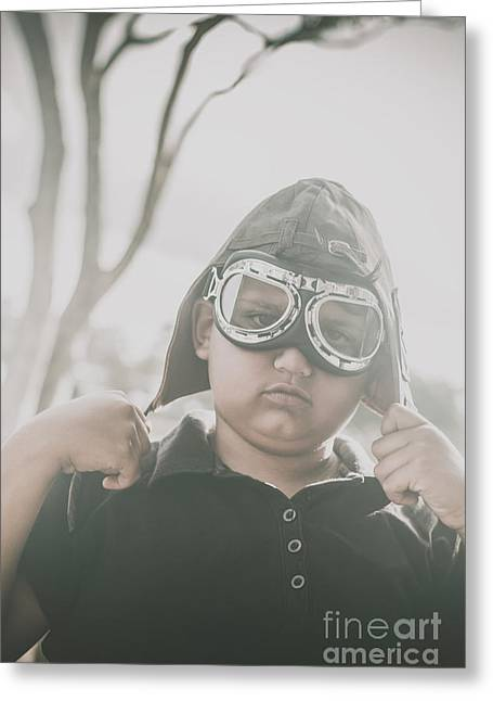 Child Playing With Airplane Aviator Hat Greeting Card