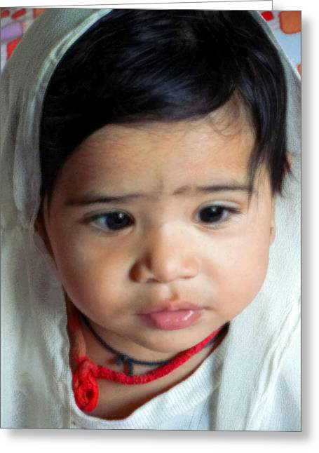 Child Portrait Greeting Card by Makarand Purohit