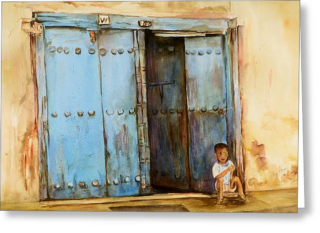 Greeting Card featuring the painting Child Sitting In Old Zanzibar Doorway by Sher Nasser