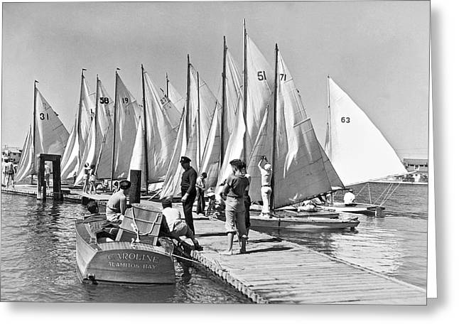 Child Skippers In La Regatta Greeting Card by Underwood Archives