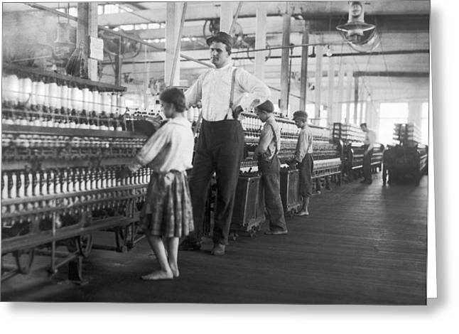 Child Spinner At Yarn Mills Greeting Card by Lewis Hine