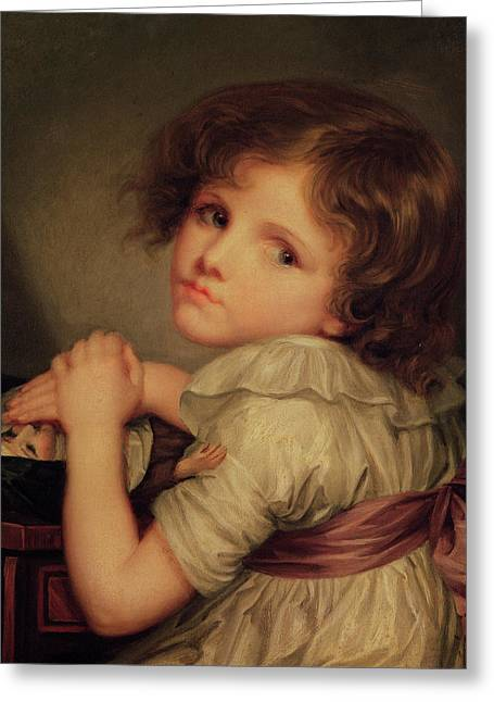 Child With A Doll Oil On Canvas Greeting Card by Anne Genevieve Greuze
