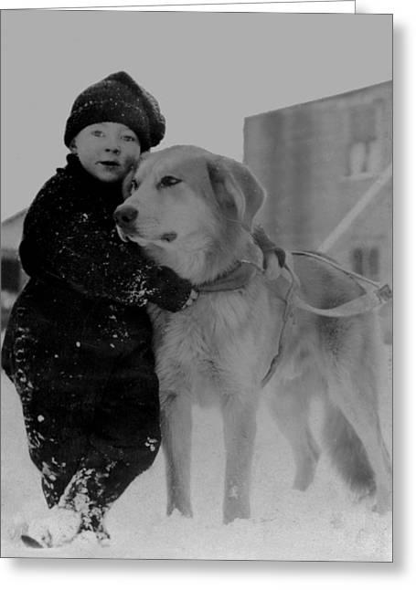 Child With Dog Alaska Greeting Card by Frank G Carpenter
