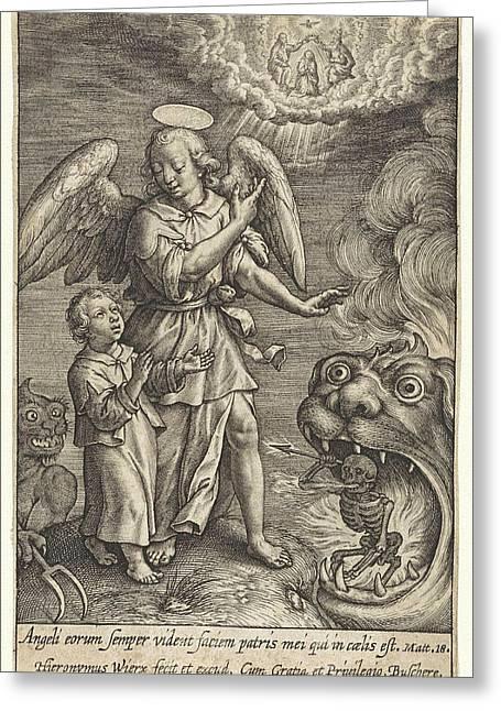 Child With Guardian Angel, Hieronymus Wierix Greeting Card by Hieronymus Wierix