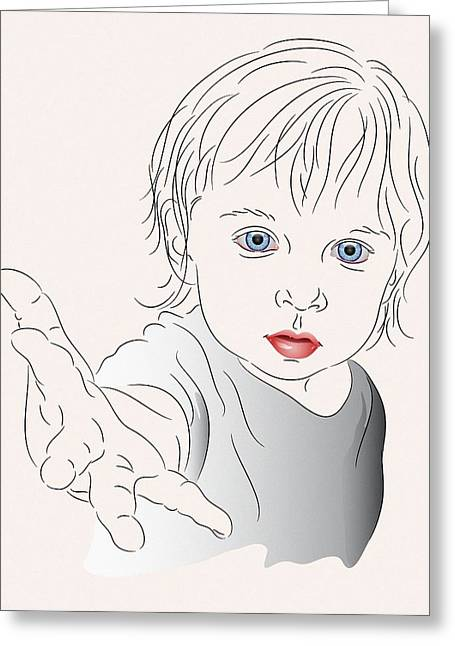 Child With Outstretched Hand Greeting Card