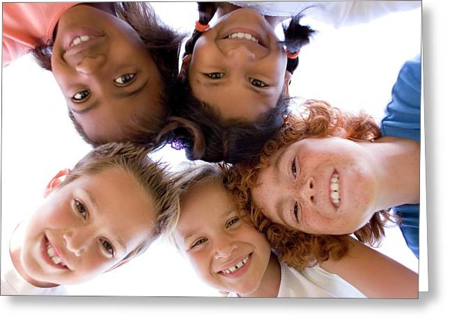 Childhood Friends Greeting Card by Ian Hooton/science Photo Library