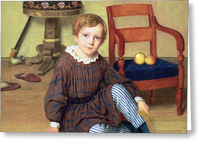 Childhood Greeting Card by Ludvig August Smith