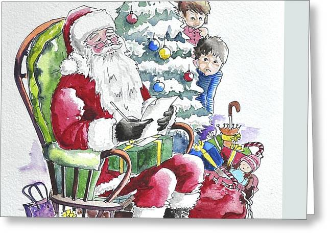 Childre Sneaking Around Santa Greeting Card