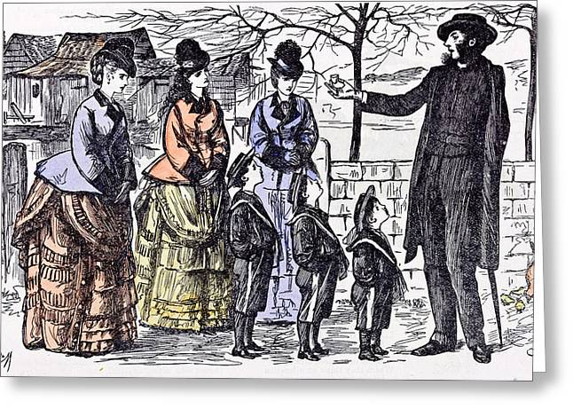 Children And A Broken Egg-shell 1874 Ladies Man Walk Street Greeting Card by English School