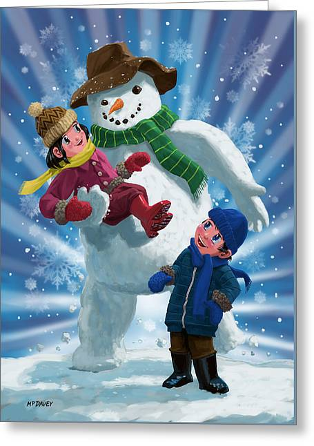 Children And Snowman Playing Together Greeting Card by Martin Davey