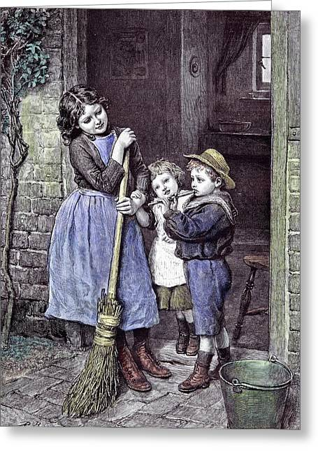 Children And The Saturdays Purchase 1891 Straw Hat Broom Greeting Card