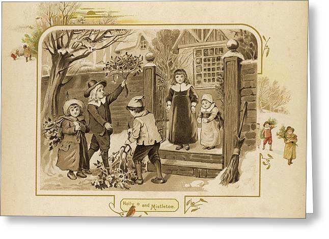 Children Arrive Home And Proudly Greeting Card by Mary Evans Picture Library