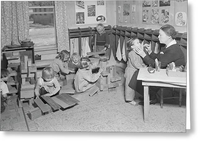 Children At A Wpa Nursery In Scotts Greeting Card by Stocktrek Images