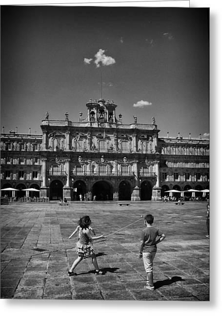 Children At Play In Salamanca Greeting Card