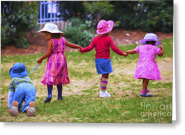 Children At Play Greeting Card by Avalon Fine Art Photography