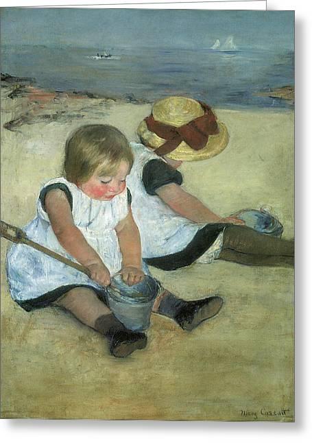 Children At The Seashore Greeting Card by Mary Cassatt