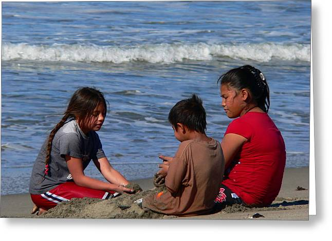 Children Beach Sand Play Greeting Card by Jeff Lowe