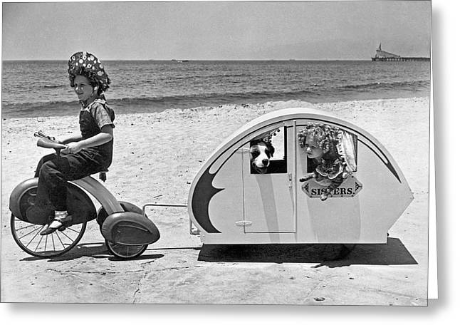 Children Beach Tour Greeting Card by Underwood Archives