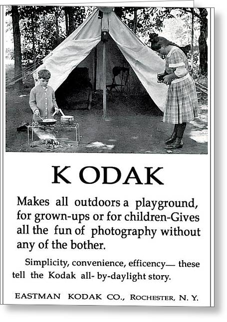 Children  Camping. Circa 1913. Greeting Card
