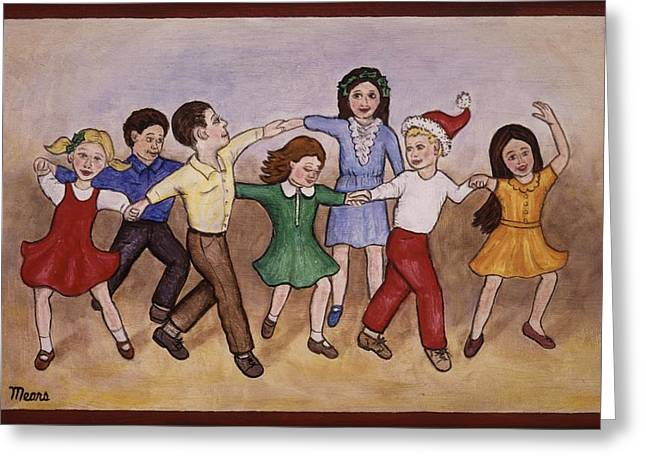 Children Dancing Greeting Card by Linda Mears