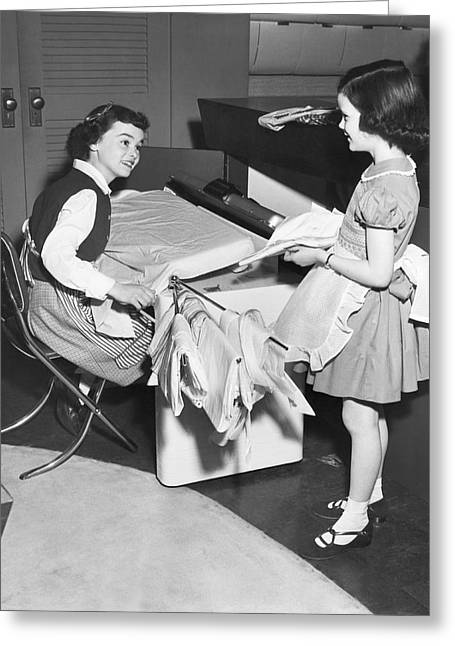 Children Doing Housework Greeting Card by Underwood Archives