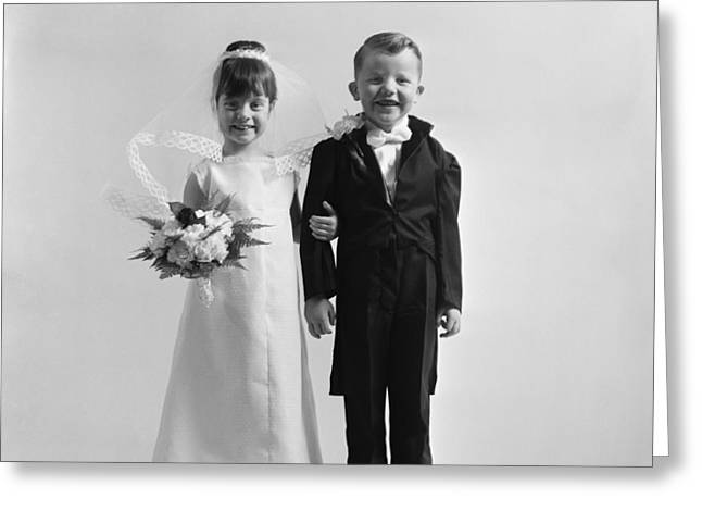 Children Dressed As Bride And Groom Greeting Card by H. Armstrong Roberts/ClassicStock