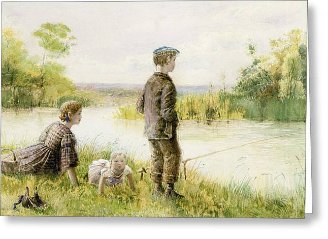 Children Fishing By A Stream Greeting Card by George Goodwin Kilburne