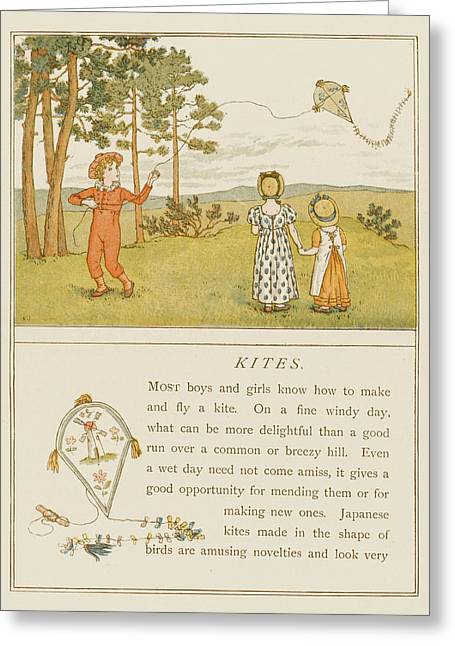 Children Flying A Kite Greeting Card