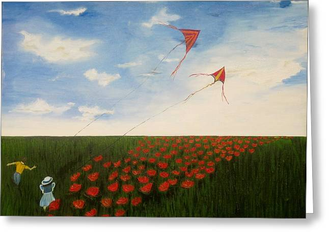 Children Flying Kites Greeting Card by Rejeena Niaz