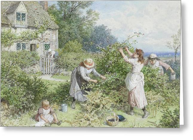 Children Gathering Blackberries Greeting Card