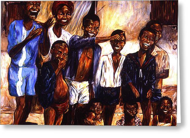 Children Gathering Greeting Card by Cardell Walker