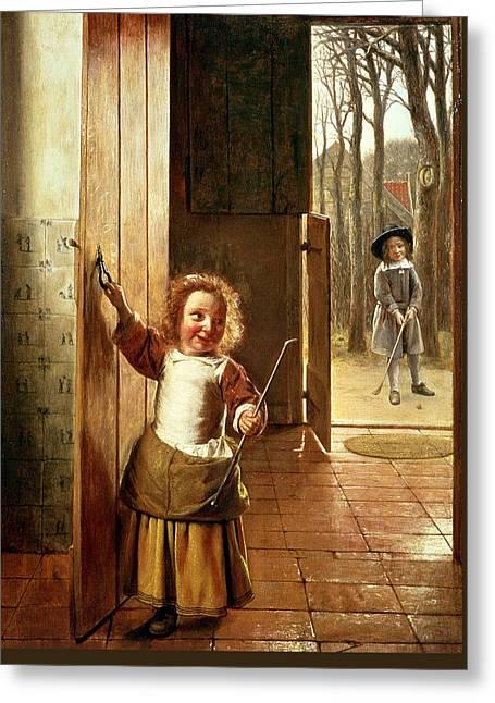 Children In A Doorway With Golf Sticks Greeting Card by Pieter de Hooch