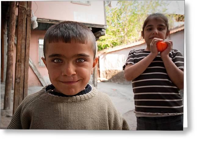 Children In Ankara Greeting Card by Pedro Nunez
