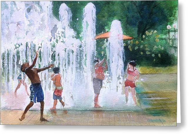 Children In Fountains II Greeting Card