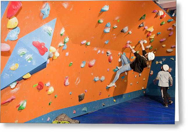 Children On A Climbing Wall Greeting Card by Ashley Cooper