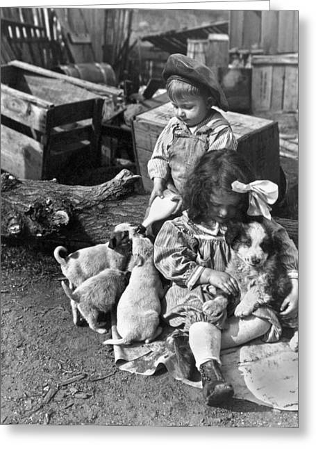 Children On Farm With Puppies Greeting Card