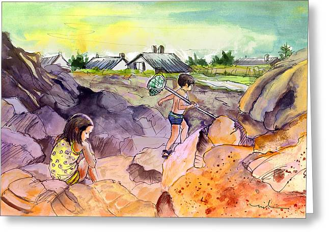 Children On The Rocks In Brittany Greeting Card